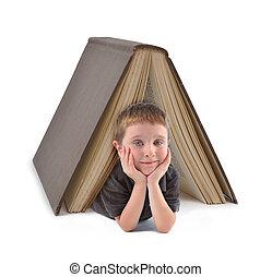 男の子, 学校, 大きい本, 下に, 教育