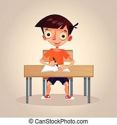 男の子, 学校, 彼の, 平ら, 考え, 勉強, 特徴, わずかしか, イラスト, 執筆, ベクトル, notebook., 小さい, 微笑, 漫画, 幸せ