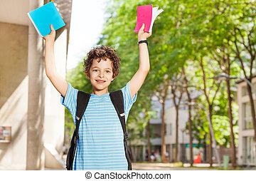 男の子, 学校, 彼の, 教科書, 幸せ, ショー