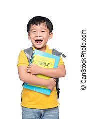 男の子, 学校, 概念, カラフルである, かわいい, 本, バックパック, 背中, 肖像画, 微笑, 教育
