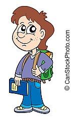 男の子, 学校, 生徒, 袋
