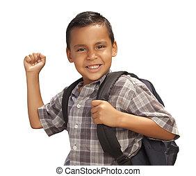 男の子, 学校, 若い, ヒスパニック, 準備ができた, 白, 幸せ