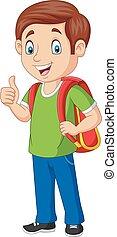 男の子, 学校, 親指, 寄付, バックパック, の上, 漫画, 幸せ