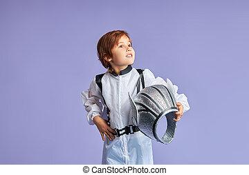 男の子, 宇宙飛行士, かわいい, 肖像画, わずかしか, 身に着けていること, スーツ