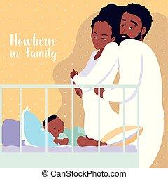 男の子, 家族, カンニングしなさい, 睡眠, 新生, 親, アフリカ