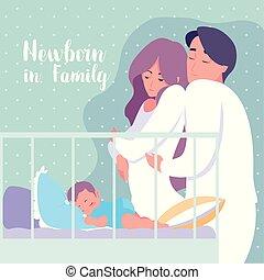 男の子, 家族, カンニングしなさい, 睡眠, 新生, 親, 赤ん坊