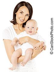 男の子, 家族, 母, 幸せ, 上に, 子供, 隔離された, お母さん, 白, 心配, 赤ん坊, 子供