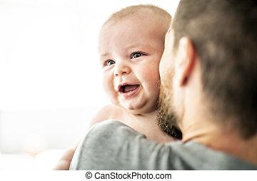 男の子, 家族, 父, 赤ん坊, 窓, 前部