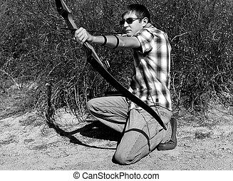 男の子, 射撃, 若い, 矢, 弓