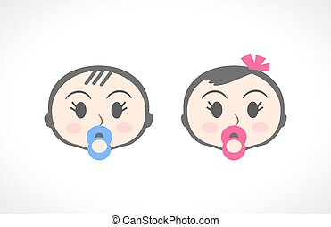 男の子, 小さい子供, の上, 肖像画, 終わり, 女の子, 子供, 赤ん坊