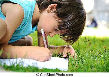 男の子, 屋外で, 草, 若い, 執筆