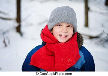 男の子, 屋外で, 遊び, 冬, 若い