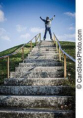 男の子, 屋外, 成功, 祝う, 上, 階段