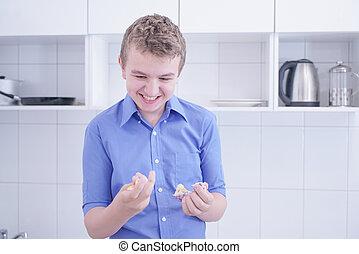 男の子, 屑, 不健康な食物, preteen, 食べなさい, ハンサム