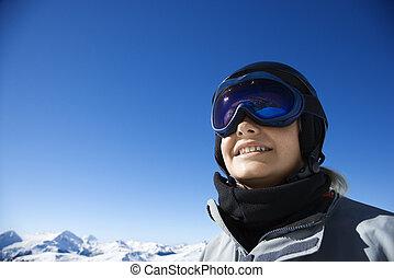 男の子, 山。, スノーボーダー