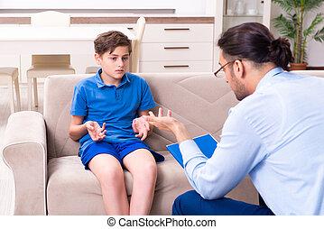 男の子, 常習している, インターネット, マレ, 訪問, 医者