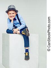 男の子, 帽子, 幸せ