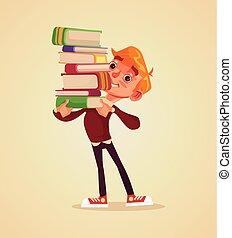 男の子, 平ら, 特徴, book., 朗らかである, ベクトル, 山, イラスト, 学生, 微笑, 把握, 漫画, 幸せ