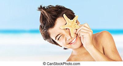 男の子, 幸せ, 浜, ヒトデ, 顔