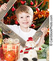 男の子, 幸せ, 遊び, クリスマス