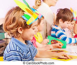 男の子, 幼稚園, 制作, クラス