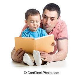 男の子, 床, 読まれた, 父, 本, 家, 子供
