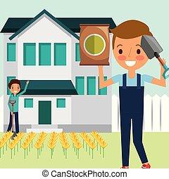 男の子, 庭, 仕事, 家, 漫画, 人