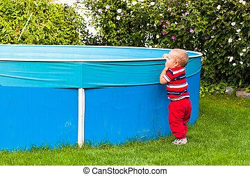 男の子, 庭, 探検, よちよち歩きの子, プール, 水泳