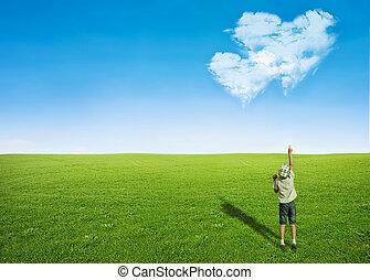 男の子, 形, 雲, フィールド, 心