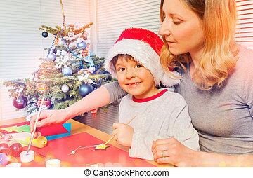 男の子, 彼の, お母さん, 準備, 装飾, クリスマス