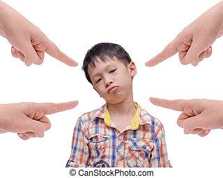 男の子, 彼の, 不快にされる, 親, 退屈すること, command.
