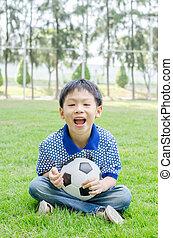 男の子, 彼の, 公園, 若い, ボール, アジア人