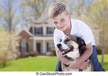 男の子, 彼の, 家, 犬, 若い, 前部