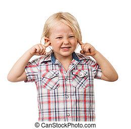 男の子, 彼の, 悲しい, 耳を妨げること