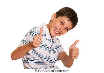 男の子, 彼の, 成功した, の上, 親指, 保有物