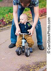 男の子, 彼の, 父, 動くこと, 自転車, 赤ん坊, 教授, 最初に