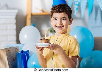 男の子, 彼の, 祝う, バースデーケーキ, 幸せ