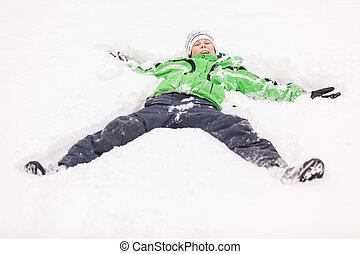 男の子, 彼の, 若い, 背中, 雪, 遊び, あること