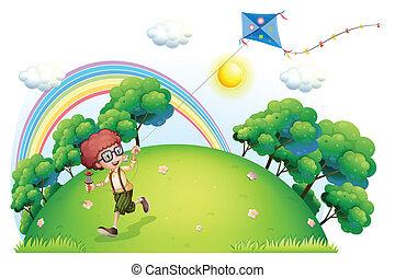 男の子, 彼の, 遊び, 凧, 丘の上