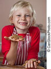 男の子, 得意である, の上, 保有物, gingerbread, 微笑の人