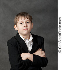 男の子, 得意である, 灰色, 背景