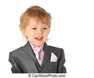 男の子, 微笑, スーツ