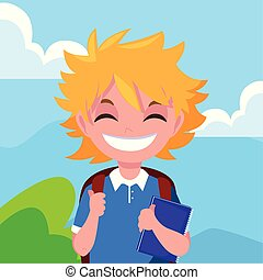 男の子, 微笑, バックパック, 学校