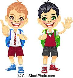 男の子, 微笑, ベクトル, 幸せ, 学童