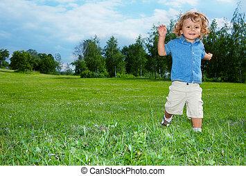 男の子, 微笑, 公園, 動くこと