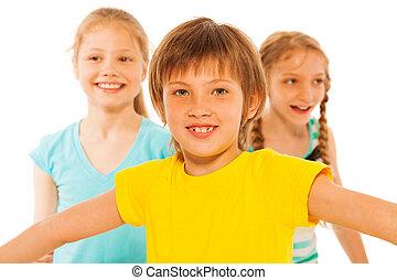 男の子, 微笑, 女の子, 2, 幸せ