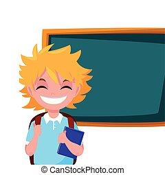 男の子, 微笑, 学校, 黒板