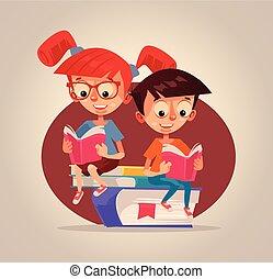 男の子, 微笑, 平ら, books., イラスト, 子供, ベクトル, 特徴, 女の子の読書, 漫画, 幸せ