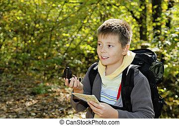 男の子, 微笑, orienteering, 森林