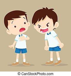男の子, 怒る, 友人, 叫ぶこと